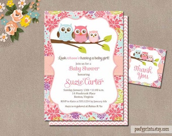 Owl Baby Shower Invitations - DIY Printable Baby Girl Shower Invitations - FREE Favor Tags Included - Suzie Collection