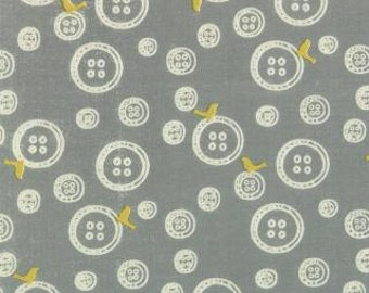 Little Things Organic Rainy Day Grey Buttons designed by Arrin Turnmire of Little Figs for Moda
