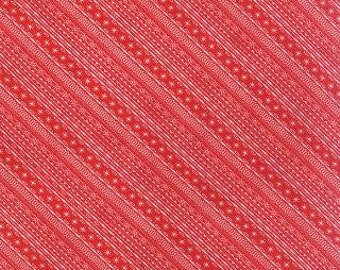 1 Yard 25th And Pine Peppermint Sleigh Bell Diagonal Stripe by BasicGrey  for Moda
