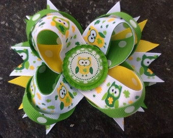 Owls St. Patrick's Day Boutique Bottlecap Hairbow