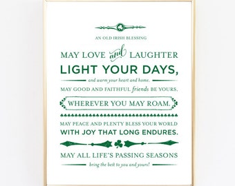 An Old Irish Blessing Print   Wedding Gift, Baptism Gift, Baby Shower Gift