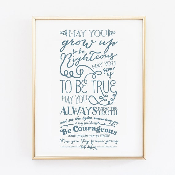 Forever Young Bob Dylan Print Nursery Decor Baby Shower