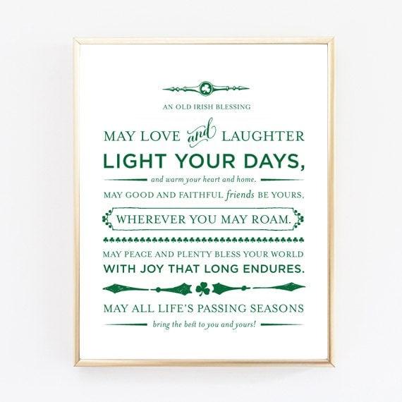 Irish Wedding Blessing Gifts: An Old Irish Blessing Print Wedding Gift Baptism Gift Baby