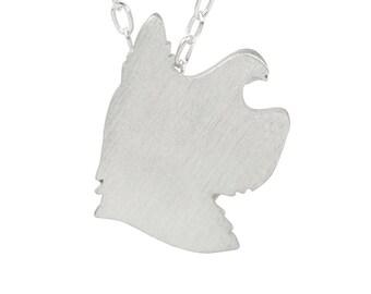 Yorkie necklace, Yorkie charm, Yorkie jewelry, Yorkie silhouette - Sterling Silver dog necklace, dog charm pet memorial gift
