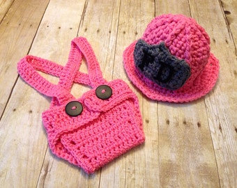 Crochet Patterns For Baby Frocks : Crochet baby girl firefighter pink outfit, firemans hat ...