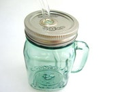 Green Handle Mason Jar To Go Cup with Glass Straw- 16 oz