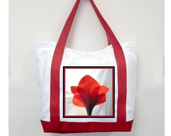 Christmas Red Handle Tote Bag, Red Ammarylis, New Canvas Styling, Original Photography  By Loves Paris Studio, 5 Styles,  FREE SHIPPING USA