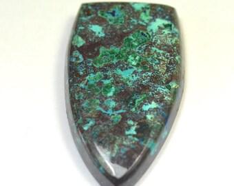 38mm blue AZURITE cabochon shield shape with Malachite, Chrysocolla and Hematite 446578