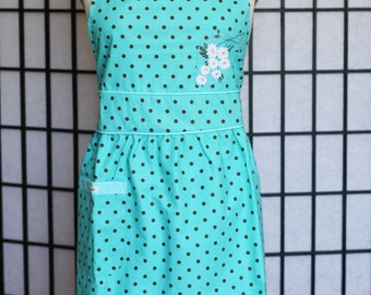 Retro Apron - Turquoise Fitted Waist With Gathers - style MORI - FULLY LINED