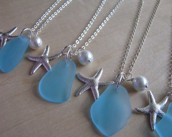 Turquoise Blue Sea Glass Bridesmaid Necklaces Aqua Blue Beach Glass Jewelry for Beach Wedding Jewelry with Starfish Personalized Letter