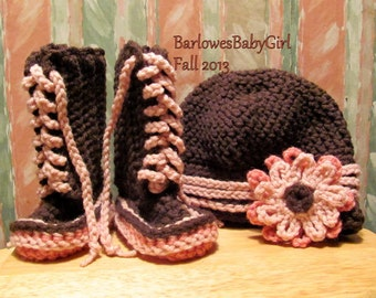 Buggs - Crochet Lace Up Booties and Hat in Chocolate Brown and Mixed Pink w/ Detachable Flower Headband
