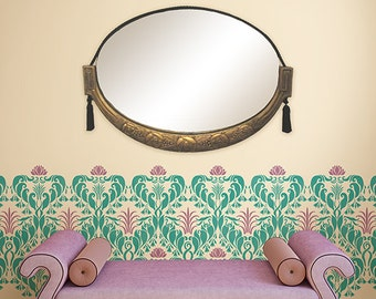 Art Nouveau Style Modern Pattern Damask Wall Stencil for Designer Wallpaper Look