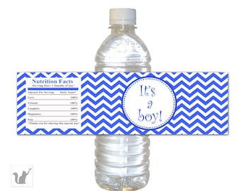 INSTANT DOWNLOAD Blue Chevron Baby Boy Shower Water Bottle Labels Wraps - Its A Boy Bottle Wrappers Party Favors Party Decorations