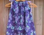 Pillowcase Dress or Jumper, purple, lavender, and aqua floral, size 6m through size 6m through 7/8