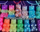 Gummy Bear Resin Necklace 2 inch , Keychain, and Backpack Clips. NEW Light up  Gummy bears available!!!