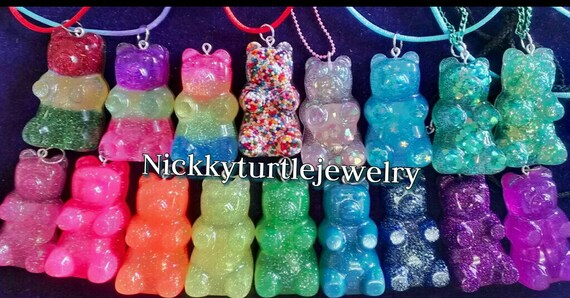 Rubber Wedding Band >> Gummy Bear Resin 2in can be made into Necklace Keychain