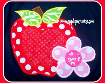 Apple with Flower Machine Applique Design