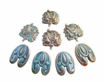 Collection of 8 Verdigris Patina Metal Stampings