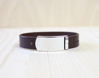 Solid Urban Genuine Italian Leather Bracelet(Dark Brown)