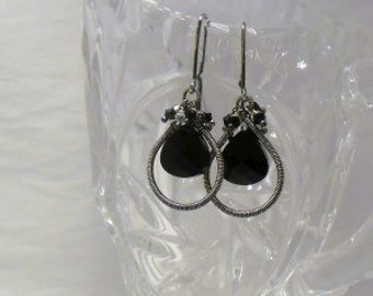 Sterling Silver Earrings - Black Swarovski briolettes - Gorgeous