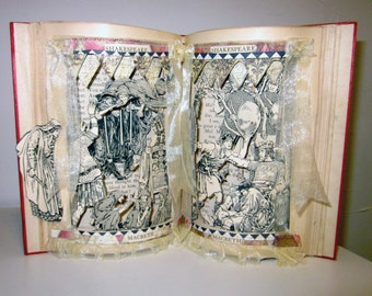 Altered book Shakespeare Macbeth 1909 antique in popup style
