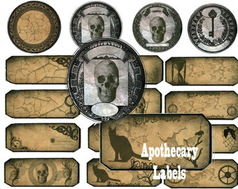 Halloween labels collage sheet craft supply ephemera halloween Apothecary Labels instant download