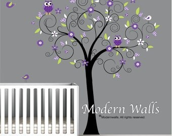 Decals-Nursery Wall Tree Decal with Flowers Owls Birds