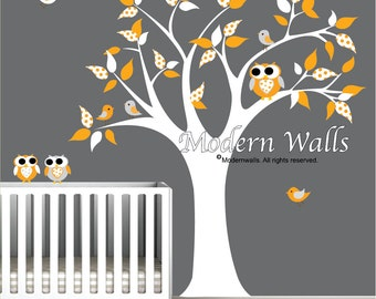 Nursery decal baby nursery chlidrens wall decals tree with Owls Birds