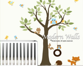 Wall Decals Vinyl Wall Decal tree with swing,forest animals-Nursery wall art-e126