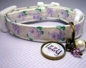 Safety Cat Collar - Mini Dog Collar - Cat Collar - Small Dog Collar - Pet Charm - Cat Charm - Lavender Roses  - Antique Brass