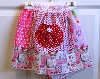 EASTER SALE Kid's Apron Girl's Love Themed Half Apron with pinks, white, and reds hearts
