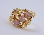 Vintage 1975 Signed Avon Opalescent Sz MEDIUM Goldtone Flower Floral Faux Glass Oval Opal Stone Adjustable 6 to 7.5 Ring in Original Box NIB