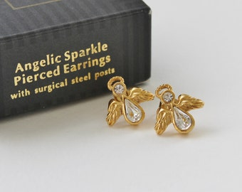 Vintage 1994 Signed Avon Angelic Sparkle Gold Tone Clear Rhinestone Angel with Wings Stud Earrings Original Box NIB
