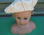 Vintage Crocheted Cream Beret for Teen or Women