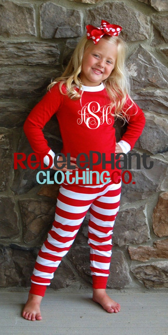Monogrammed Christmas Pajamas Kids Christmas Pajamas Family