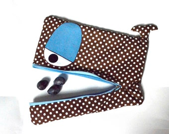 Whale laptop sleeve case in brown with white polka dots, blue eyes, 13 inch, 14 inch,15 inch, lightly padded -custom made