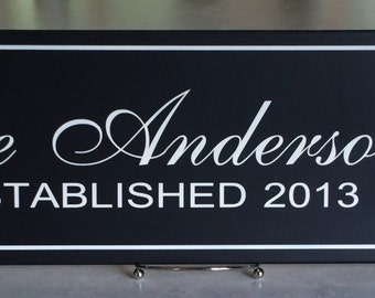 Family Name Signs, Customizable Plaque Established Family Sign Painted Black, Personalized Wedding / Anniversary / Housewarming Gifts