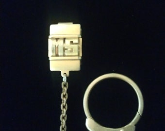 """Vintage Swank Pocket Watch Chain with """"M.S."""" Monogrammed Belt Clip 1950s Signed"""