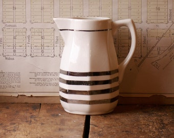 Vintage Ivory Mid Century Porcelain Pitcher with Silver Stripes - Beautiful Wedding Serving Piece