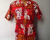 60's Vintage Men's Atomic Tiki Hawaiian Shirt medium