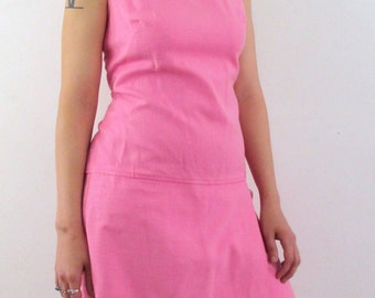 60's Vintage Mod Pink Miami Shorts Mini Dress med/lg
