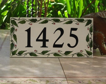 GREEN LEAF  VINE with Berries House Numbers,  Address plaque,  Custom hand painted  House Number Tile