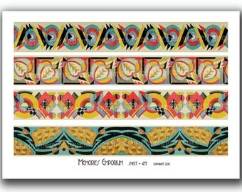 Art Deco Bookmark Border Strip Designs Geometric Patterns for Decoupage Journal Decoration Home Decor Twenties 1920s 20s Collage Sheet 473