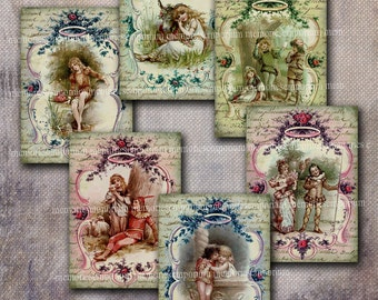 Victorian Children Storybook Prints Book Page Pictures Story Decoupage Printable Gift Tags ATC ACEO Digital Collage Sheet Download 542