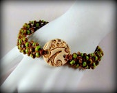 Macrame Weave Waxed Irish Linen Bracelet - Picasso Finish Chartruese Toho Beads, Chartreuse Green Seed Beads, Stamped Pottery