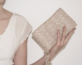Pale Golden Crochet Rectangular Bridal Clutch Bag with Swarovski Crystal Button