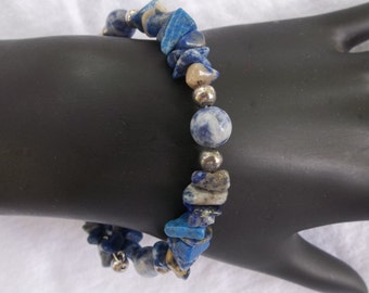 Blue Sodalite and Silver Memory Wire XL Bracelet