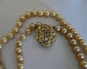 1950's Vintage Pearl Necklace 7mm 32 inch Single Strand Costume Jewelry
