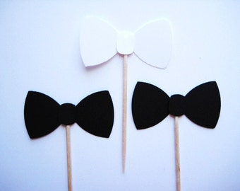 24 Black & White Bow tie Party Picks - Cupcake Toppers - Toothpicks - Food  Picks no FP443