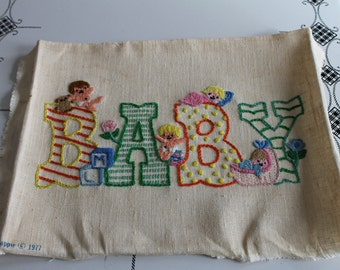 Vintage 1977 Kappie BABY Needlepoint Wall Hanging Cute for Pillow too